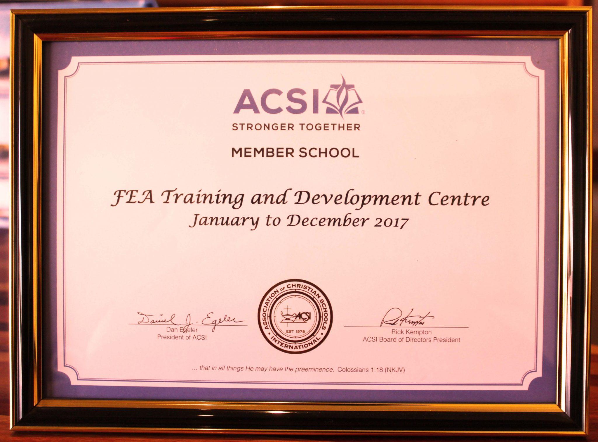 acsi certificate fea membership association schools christian international